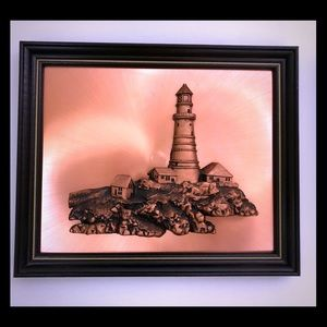 Mid Century Copper Lighthouse Wall art, 13 x 16